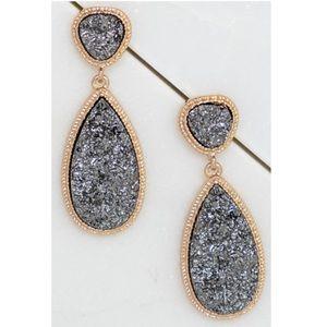 Last 1! Charcoal Teardrop Druzy Gold Drop Earrings